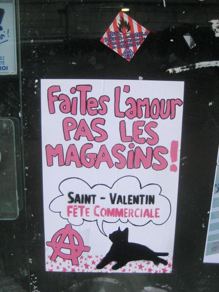 faites l amour pas les magasins affiches contre la st valentin besan on fragment de tags. Black Bedroom Furniture Sets. Home Design Ideas